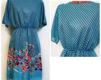 70s Blue Checked Floral Day Dress