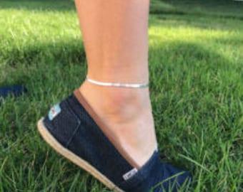 Sterling Silver Anklet Silver Ankle Bracelet Dainty Silver Anklet Thin Delicate Silver Anklet Simple Silver Anklet Jewellery Herringbone