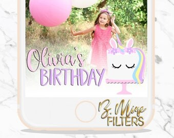 UNICORN SNAPCHAT GEOFILTER, Unicorn Party, Snapchat Filter, Unicorn Headband,Cake, Little Girl Birthday, Birthday Party, Party Decorations,