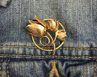 Vintage gold tone rose metal lapel pin brooch | stock# 816 | Giovanni rose brooch, gold rose brooch, golden flower pin, floral brooch