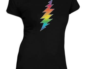 Grateful Dead Women's T-shirt/ 13 point lightning bolt . Rainbow Lightning! 100% Cotton