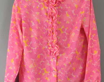 Amazing 1970s VINTAGE St Michael M&S pink floral ruffled blouse top UK 12/14
