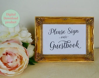 "Printable Wedding Guestbook Sign | ""Please Sign our Guestbook"" 