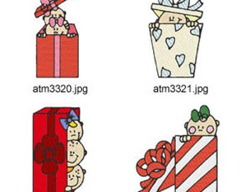 Christmas-Gift-Box-Babies ( 7 Machine Embroidery Designs from ATW ) XYZ17M