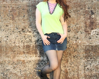 Lime Green Upcycled T-shirt