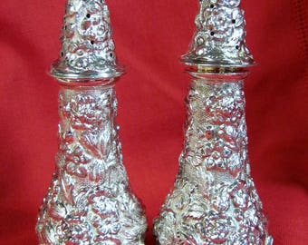 1960 STIEFF ROSE Pattern Repousse Salt & Pepper Shakers Sterling Silver 925