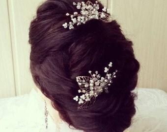 Leaf Wedding hair comb Crown,Bridal hair vine,Crystals Bridal Wedding,Hairpiece Bridal Hair Vine,Wedding hair-vine,pearl hair vine 238