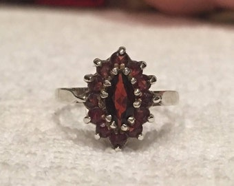 Gorgeous Vintage ENGLISH Sterling Silver CLUSTER Ring-Large Bohemian GARNET Surrounded by 12 Smaller Garnets-Birmingham 1977-Size P -Us 7.5