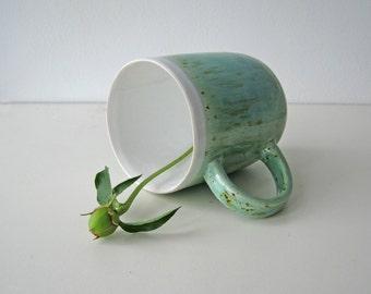 Large turquoise ceramic mug