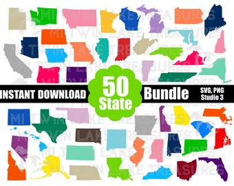 50 States Bundle SVG, PNG, Studio.3, Instant & Digital Download, For Silhouette and Cricut, Home, DIY, Personal and Commercial Use
