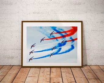 """Paris Air Show Photography, Patrouille de France, Alpha Jet, Salon du Bourget, Fine Art Photography, 20 cm x 30cm, 8"""" x 12"""""""