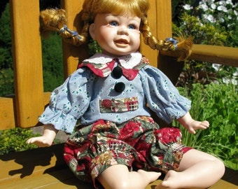German Collectible Porcelain Doll / Pippi Longstocking / Porcelain Doll / Bisque Doll / German Doll / Sitting Doll / Red Haired / Redhead