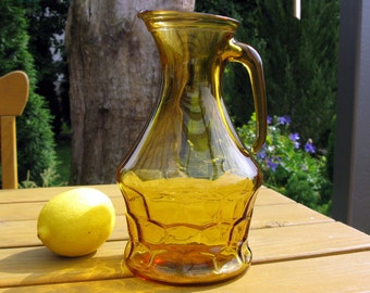 """Italian Amber Glass Pitcher / Enesco Amber Glass Pitcher / Jug / Water Pitcher / Juice Pitcher / Decanter / 9"""" / Made in Italy / 1.5 Qt"""
