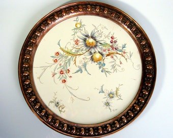 Art Nouveau / Germany / Porcelain & Copper / Hand Painted / Serving Tray / Antique / Waechtersbach / Cake Stand / Rare / Collectors Piece