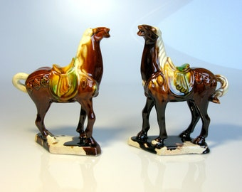 Chinese Imperial War Horses / Pair / Tang Dynasty Horse Figurines / Set of Two / Tang Horses / Sancai Glazed / Collectible / Majolica / 60s