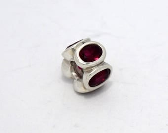 """Authentic Sterling Silver Pandora """"Oval Lights, Synthetic Ruby"""" Charm #790311SRU"""