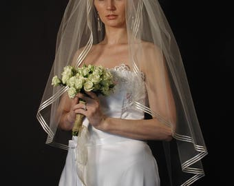 "42""  Fingertip Veil with 3 Rows of 1/8"" Satin Ribbon Edge"
