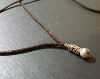 Natural Howlite necklace for men, long rope surfer necklace, Mens stone jewelry