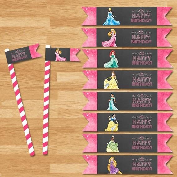 Disney Princess Straw Flags - Chalkboard - Disney Princess Straw Flags - Princess Party Straw Drink Flags - Princess Party Printables