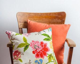 Floral Print Pillow, Garden, Print Pillow, Garden Print Pillow, Cotton Pillow, Linen Pillow, Orange Pillow, Flower Pillow, Living Room