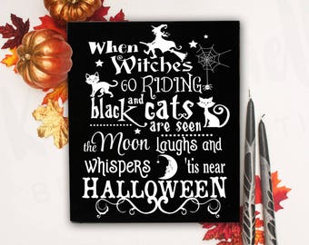 Halloween Signs, Halloween, Halloween Wall Decor, Witch Decor, Halloween Party Decor,Halloween Wood Signs,Halloween Decorations, Black Cat