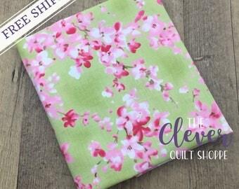 Sakura Watercolor Petals Leaf Green by Moda (100% Cotton, Quilting Fabric Yardage)
