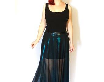 Metallic Blue Sheer Maxi Skirt, High Waisted Maxi, See Through Skirt, Gothic Maxi Skirt, High Waist Skirt, Long Gothic Skirt, Mesh Skirt