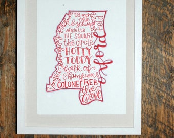 University of Mississippi, Ole Miss, Oxford Hand-lettered State