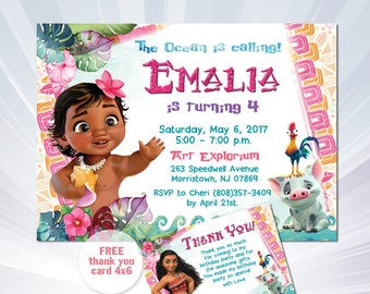 Baby Moana Invitation Baby Moana Birthday Card With - Birthday invitation for baby