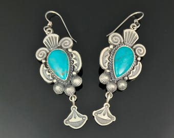 Old Style Turquoise Sterling Navajo Native American Earrings Signed - Michael & Rose Calladitto