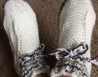 Hand knitted warm booties