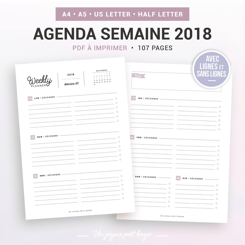 agenda semaine 2018 imprimer agenda hebdomadaire 2018. Black Bedroom Furniture Sets. Home Design Ideas