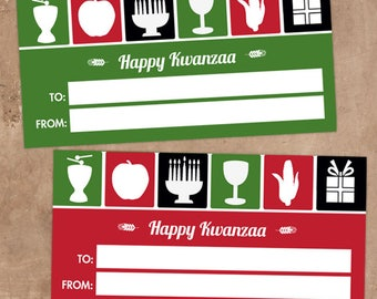 """Printable Kwanzaa Symbols Holiday Gift Labels, 4""""x2"""", Set of 10 Labels, Non-Editable, Instant Download"""