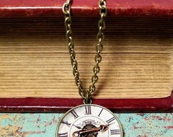 Clock Face Necklace - Arrow Necklace - Clock and Arrow Necklace - Steampunk Clock Necklace - Steampunk Arrow Necklace- Bronze Clock Necklace