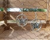 Silver Butterfly Dangle Earrings, Butterfly Earrings, Silver Dangle Hoops Earrings, Silver Butterfly Earrings, Butterfly Hoop Earrings