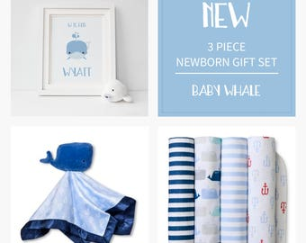 Newborn Gift Bundle | Baby Whale | Personalized