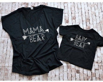 Mommy and Me matching, mama bear tee pee shirt, mama bear family shirt, baby bear matching, mother daughter, mother son, tee pee shirt