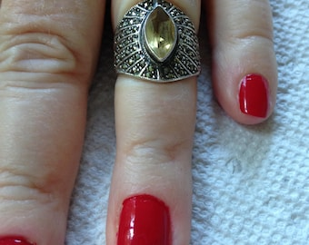 Sterling Silver Golden Citrine and Marcasite Ring