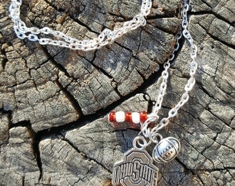 Ohio state buckeyes charm necklace