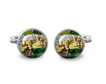 A Sunday Afternoon on the Island of La Grande Jatte Cuff Links Georges Seurat Cuff Links 16mm Cufflinks Gift for Men Groomsmen