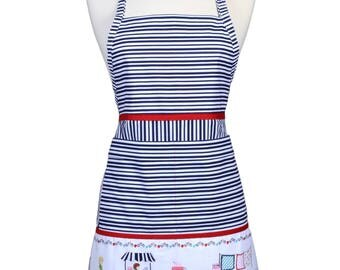 SALE Womens Cute Navy and White Stripes Vintage Market Border Apron Traditional Kitchen Chef with Pockets and Adjustable Neck (CS)