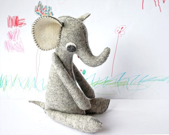 Kawaii Toy, Elephant, Handmade, Waldorf Toy, Elephant Doll, Baby Elephant, Soft Toy, Elephant Gift, Stuffed Animal, Unique Gift, Waldorf Toy