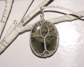 Green Line Jasper Tree of Life pendant