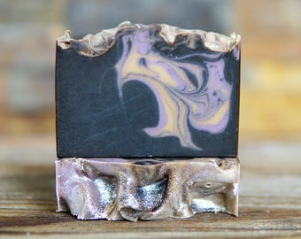 Black Amber & Lavender Soap - Vegan Soap - Activated Charcoal Soap - Handmade Soap - Homemade Soap - Cocoa Butter Soap