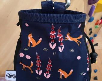 Fox and Flower print Chalk Bag - Organic Cotton