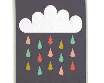 Modern Quilt, Rain Quilt, Cloud Quilt, Modern Nursery - Rainy Day Quilt