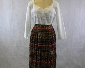 Vintage Large 90's Brown Bohemian Festival Elastic Waist Skirt by Mix Nouveau | Crinkle Skirt | Gypsy | Gauze Skirt