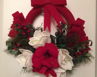 Christmas Wreath, Front Door Wreath, Amaryllis Wreath, Amaryllis Christmas Wreath, Front Door Christmas Wreath, Xmas Wreath, Holiday Wreath