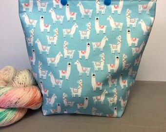 Llama Army Knitting Project Bag - Snap GoGo