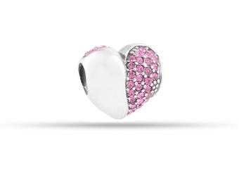 Silver Pink Heart Charm, European Bead, Fits Charm Bracelet, Birthday Mom, Daughter, Sister, Friend, Giftpacking Available, Heart Bead